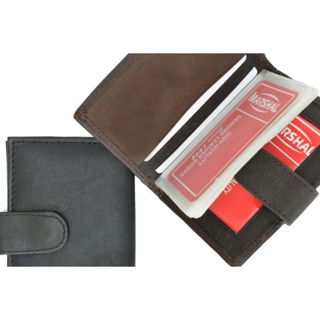 Lambskin Leather Snap Closure Mens Wallet Card Case 570 (C) Brown (Lambskin Fitted Case)