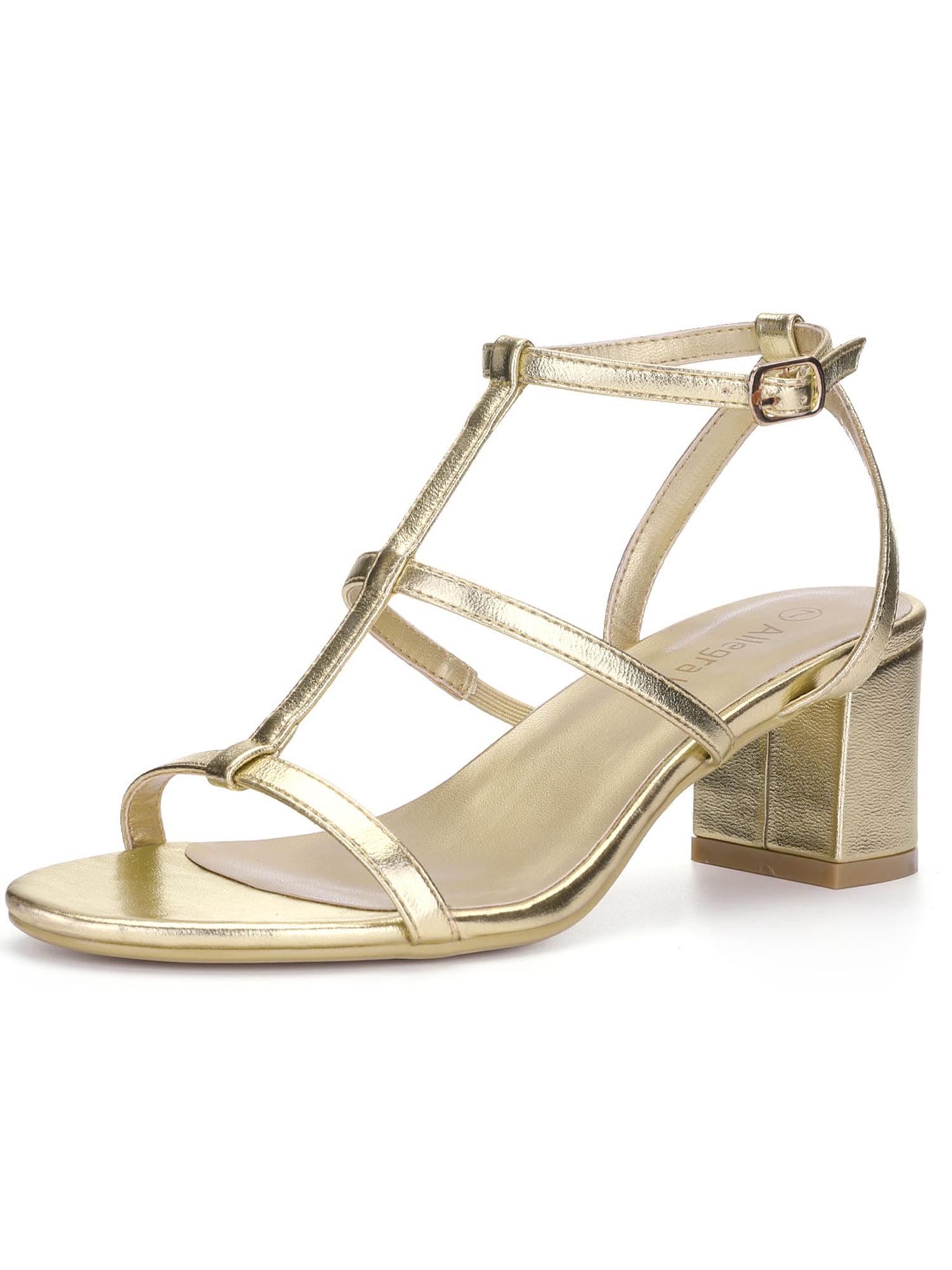 7e4583082410ed Unique Bargains Women s Cutout Mid Block Heel T-Strap Sandals Black (Size  8.5)