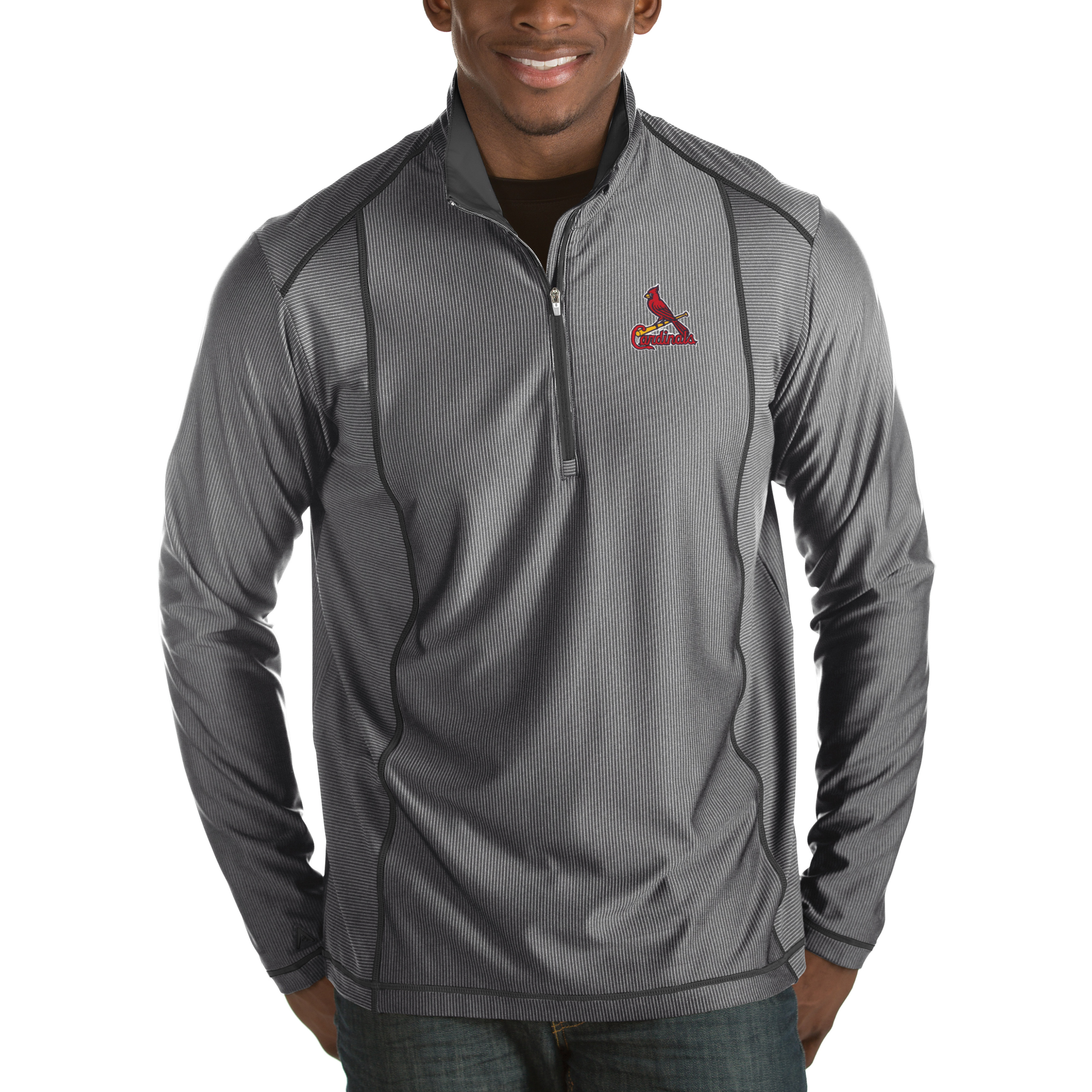St. Louis Cardinals Antigua Tempo Half-Zip Pullover Jacket - Heathered Charcoal