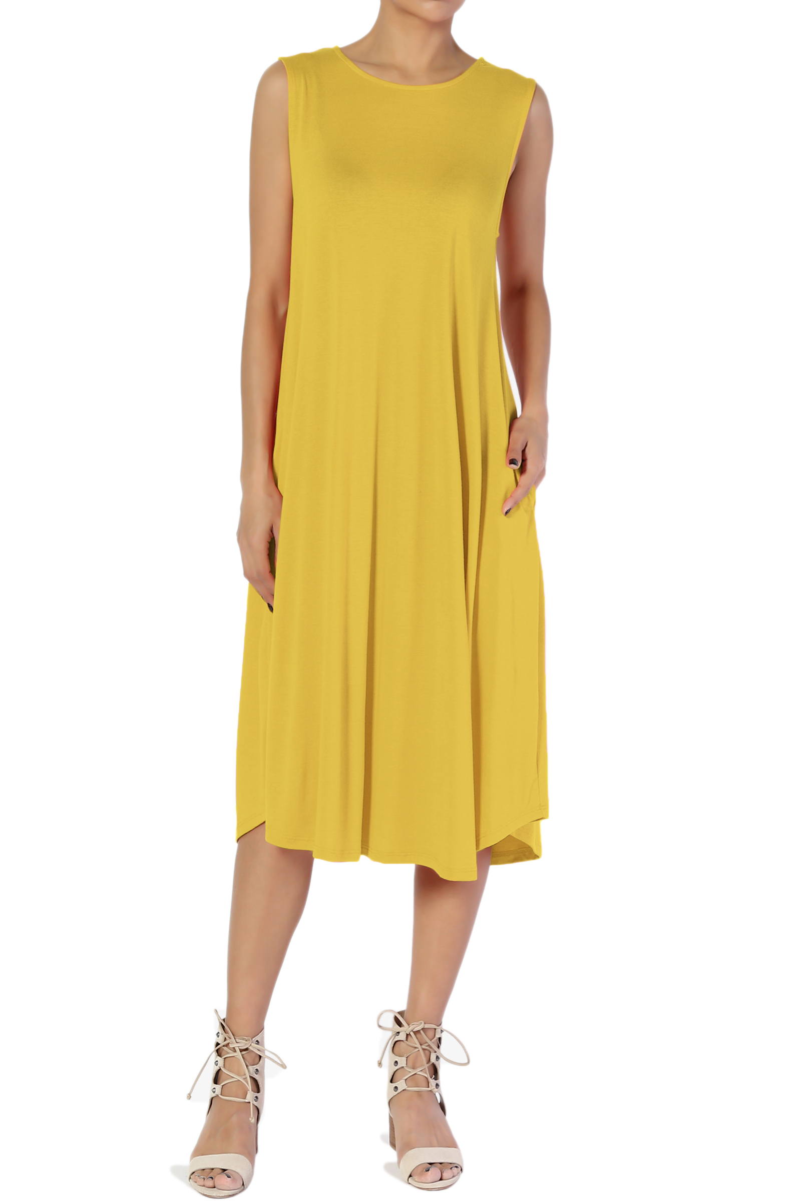 TheMogan Women's S~3X Sleeveless Fit & Flare A-line Draped Jersey Midi Long Dress