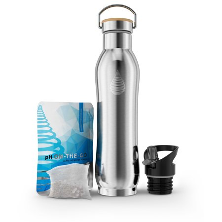 pH ACTIVE Insulated Water Bottle - Filtered Alkaline Water Bottle - Stainless Steel Water Bottle - Includes Alkaline Water Filter, Plus Bonus Sports Gym Lid - Double Walled Metal - NEW 2019 Model