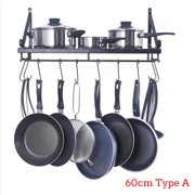 Storage Home Wall Mounted Pot Pan Rack Holder Cookware Shelf Hanger Hook For Home Kitchen