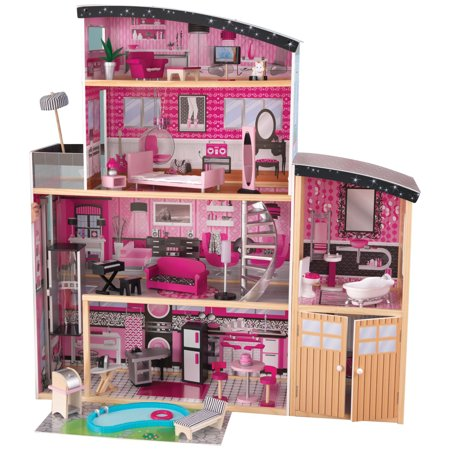 Kidkraft Glamorous Sparkle Mansion Curved Roof Dollhouse Furniture