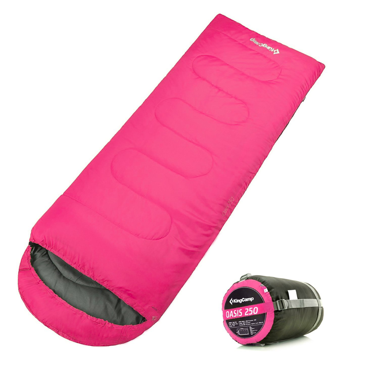 KingCamp Envelop Sleeping Bag 4 Season Lightweight Comfort with Compression Sack Camping Backpack