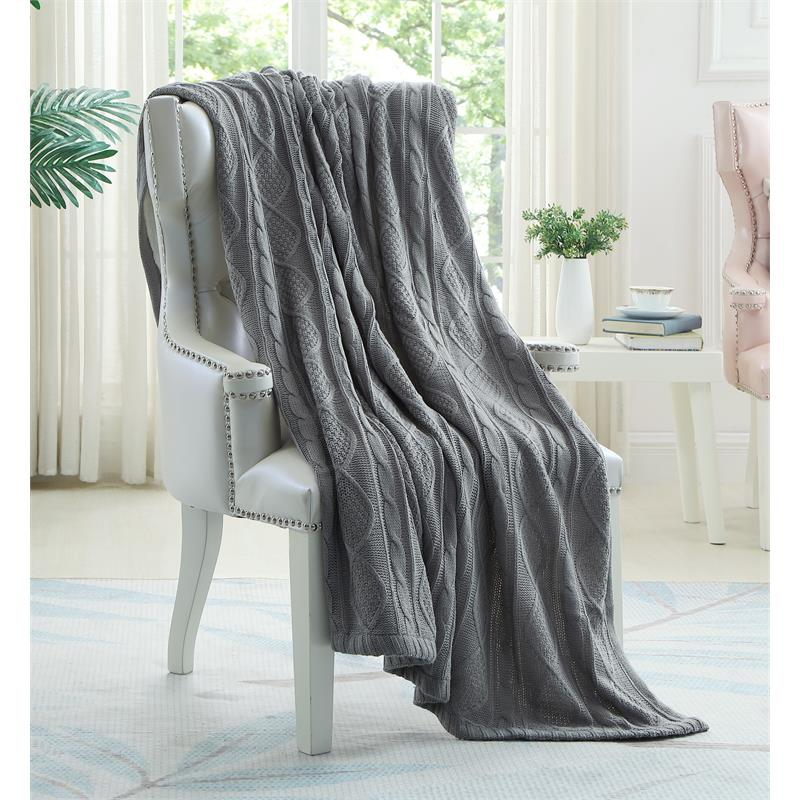 "Posh Living Sacha 50""x60"" Cable Knit Super Soft Fabric Throw in Light Gray - Walmart.com"