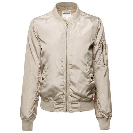 6d6446075dd3e FashionOutfit - FashionOutfit Women s Classic Style Zip Up Bomber Jacket -  Walmart.com