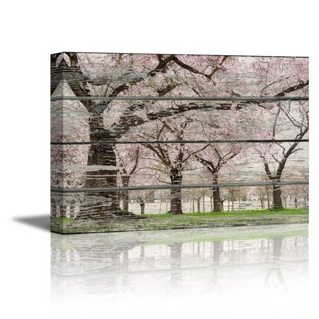 wall26 - Canvas Prints Wall Art - Cherry Blossom in Spring on Vintage Wood Background Rustic Home Decoration - 32
