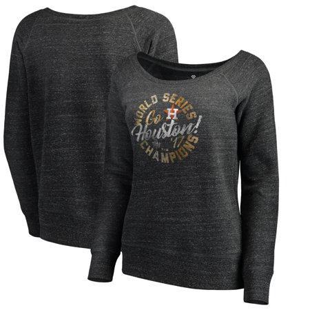 Boatneck Sweatshirt (Houston Astros Let Loose by RNL Women's 2017 World Series Champions Overthrow Boatneck Sweatshirt - Charcoal)