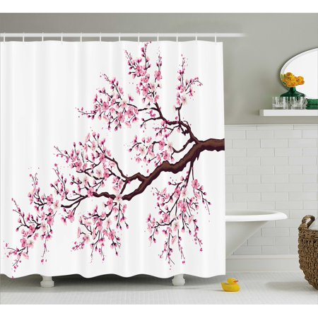Japanese Shower Curtain, Branch of a Flourishing Sakura Tree Flowers Cherry Blossoms Spring Theme Art, Fabric Bathroom Set with Hooks, Pink Dark Brown, by - Shower Of Flowers