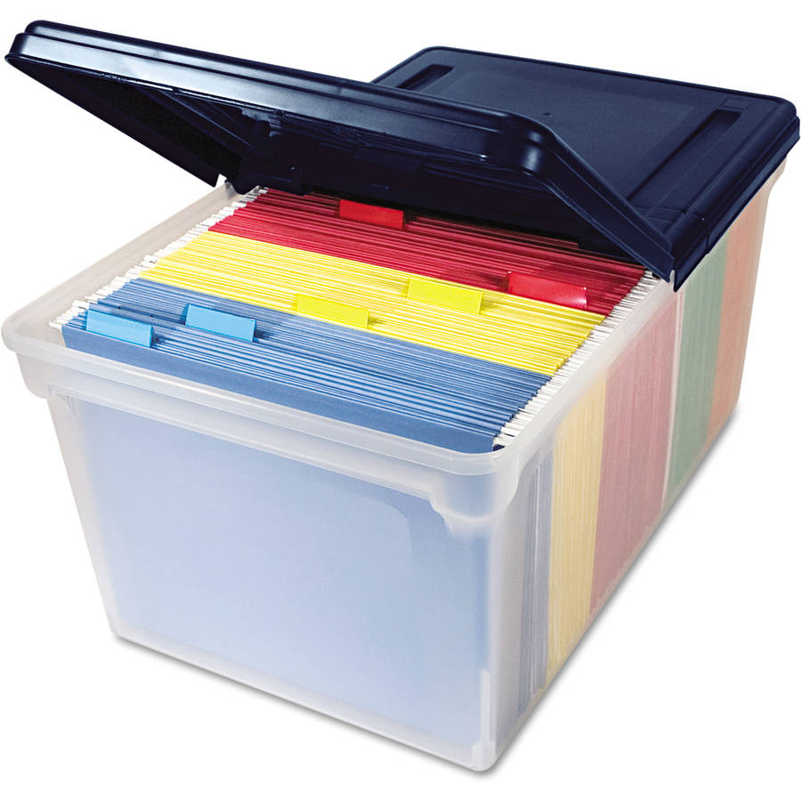 Innovative Storage Designs File Tote Storage Box with Lid, Letter, Clear/Navy