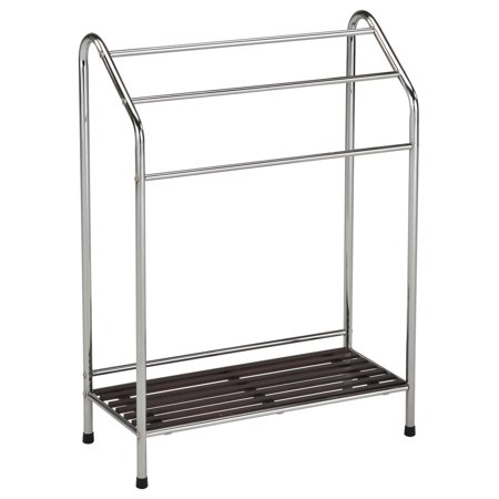 maadai chrome metal walnut wood modern 3 bar shelf free standing towel quilt rack stand. Black Bedroom Furniture Sets. Home Design Ideas