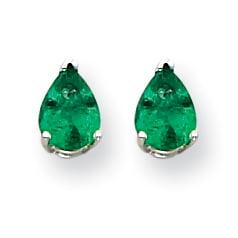 14K White Gold Emerald Earrings - image 2 of 2