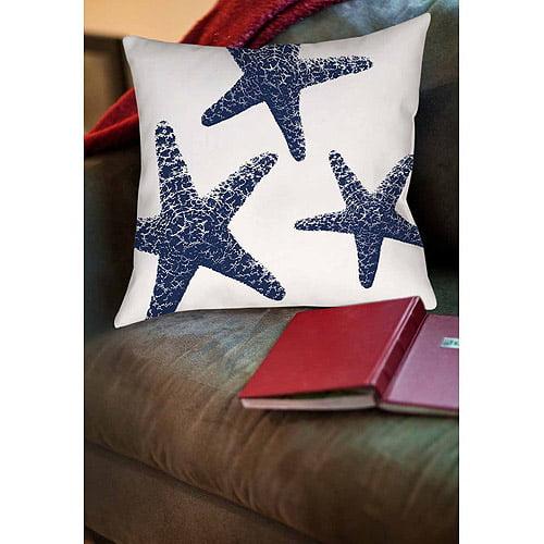 IDG Nautical Nonsense Blue White Starfish Indoor Pillow