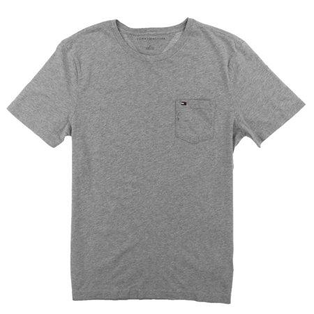 Tommy Hilfiger Mens Crew Neck Pocket T-shirt (Gray Heather, Medium)