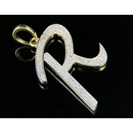 10K Yellow Gold Diamond Letter R Initial Pendant 0.50 Ct 1.75