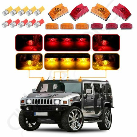 10x Amber/red Roof Cab Marker Light w/5050 LED Bulbs for 03-09 Hummer H2 SUV SUT Hummer Roof Lights