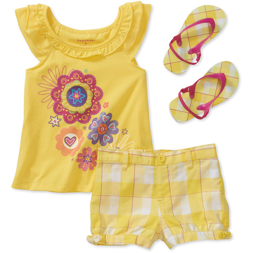 Healthtex Baby Girls' 3 Piece Ruffle Tee, Short and Flip Flop Set