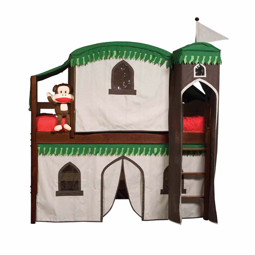 Bolton Furniture Mission Twin Low Loft Bed, Cherry, Treehouse Tower, Top Tent and Bottom Curtain