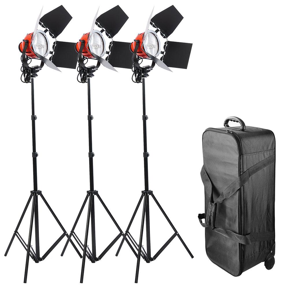 Photo Studio Tungsten Film Video Lighting Kit Rolling Cas...