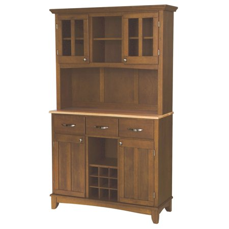 Home Styles Large Buffet with Two Glass Door Hutch, Cottage Oak with Stainless Steel Top Cabinet Oak Veneer Buffet China