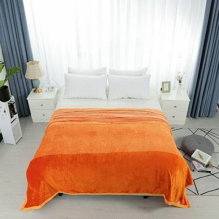 Flannel Fleece Blankets Warm Solid Bed Blanket Sofa Gradient -