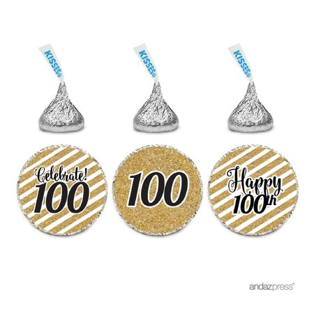 Milestone Chocolate Drop Labels Trio, Fits Hershey's Kisses Party Favors, 100th Birthday, 216-Pack, Not Real Glitter](100th Birthday Invitations Ideas)