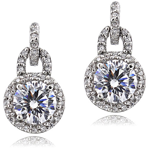 Sterling Silver Platinum-Plated 100-Facet CZ Fancy Halo Earrings