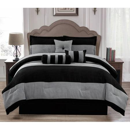 Soft Suede Black Gray Van Dam 7 Piece Comforter Set - Full