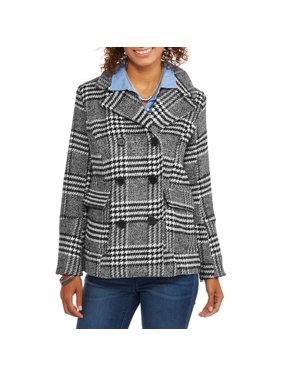 739ef7de4de2d Product Image Maxwell Studio Women s Faux Wool Classic Plaid Double-Breasted  Peacoat