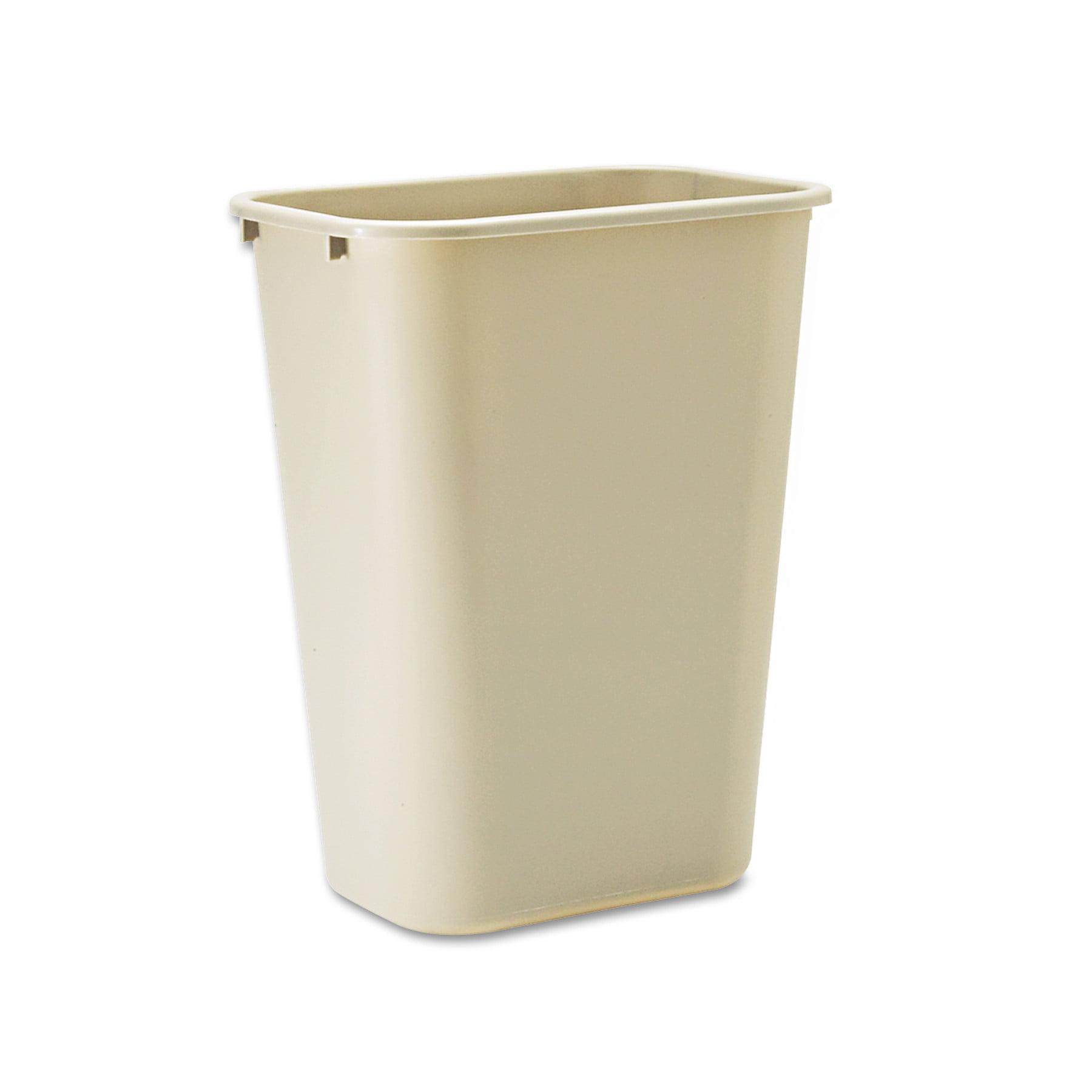 rubbermaid commercial deskside plastic wastebasket rectangular 10 14 gal beige
