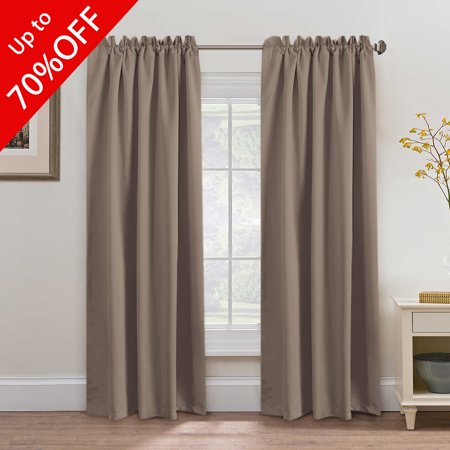 Blackout Thermal Insulated Curtains Drapes Back Tab Rod Pocket Energy Efficient Bedroom Warm Taupe Sold Per Pair 52Wx84L Inch