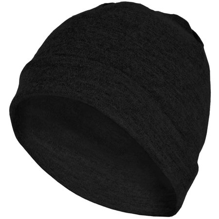 MERIWOOL Merino Wool Unisex Cuff Beanie Hat - Black Color Block Merino Wool