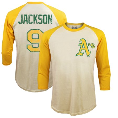 online retailer e4c99 a62cd Reggie Jackson Oakland Athletics Majestic Threads Softhand Cotton  Cooperstown 3/4-Sleeve Raglan T-Shirt - Cream
