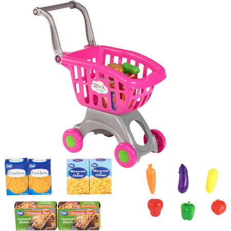 Spark. create. image shopping cart & food play set, pink, designed for ages 2 and up (Vending Food Carts)