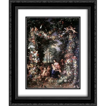 Holy Family W/ Wreath of Fruit and Flowers 2x Matted 20x24 Black Ornate Framed Art Print by Jan Brueghel the (Holy Family Wreath)