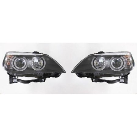 Go-Parts - PAIR/SET - OE Replacement for 2008 - 2010 BMW 535i Front Headlightss Headlamps Assemblies Front Housing / Lens / Cover - Left & Right (Driver & Passenger) Side Replacement For BMW 535i