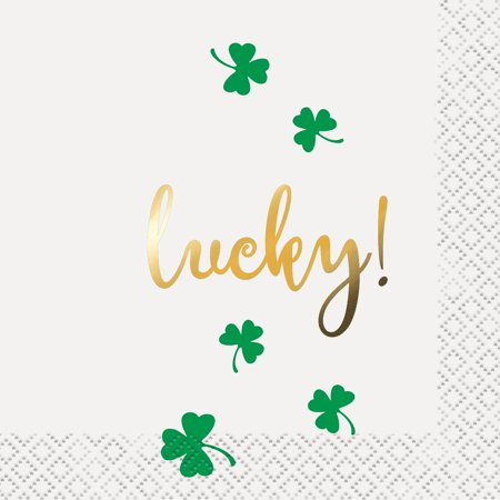 Lucky Shamrock St. Patrick's Day Paper Cocktail Napkins, 5 in, 16ct