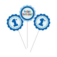 "Club Pack of 18 Blue ""Happy Birthday"" 1st Birthday Boy Party Decoration Centerpiece Picks 17"""