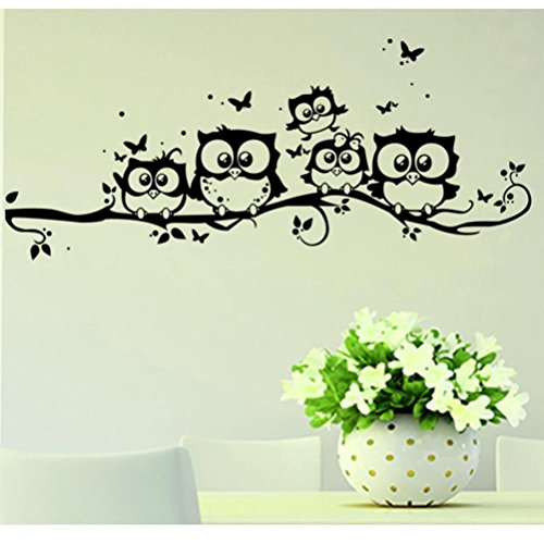 Ussore Vinyl Art Decal Cartoon Owl Butterfly Wall Sticker Decor Home Decal  For Kids Home Living