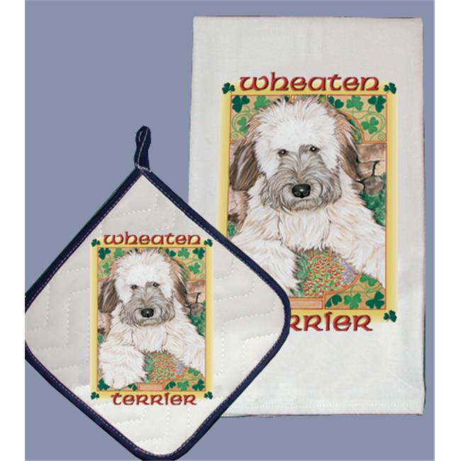 Pipsqueak Productions DP886 Dish Towel and Pot Holder Set - Wheaten Terrier