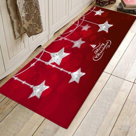 Christmas Door Mat Floor Area Rug Holiday Kitchen Bedroom Decorative Carpet (Doormat Kitten)