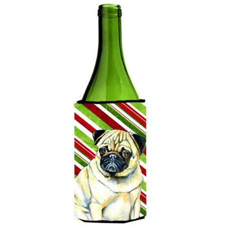 Pug Candy Cane Holiday Christmas Wine bottle sleeve Hugger - 24 oz. - image 1 de 1