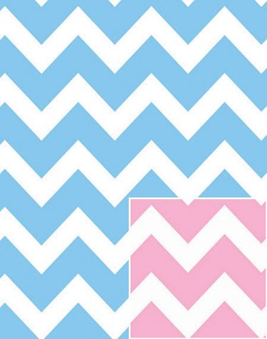 Baby Pink And Blue Chevron Wrap Rolled 24 Inch X 15 Feet   Baby Shower  Wrapping
