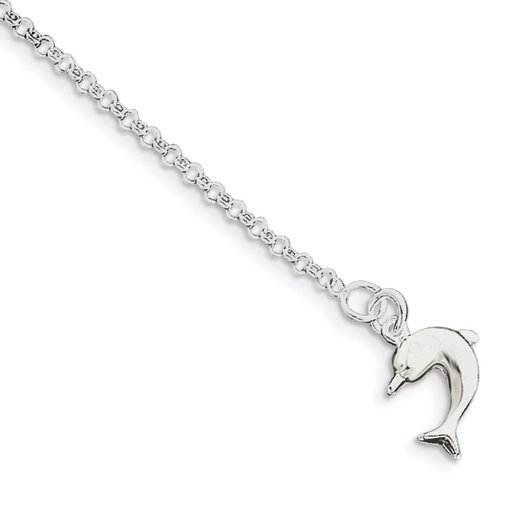 Sterling Silver 10inch Hollow Polished 3-Dimensional Dolphin Anklet