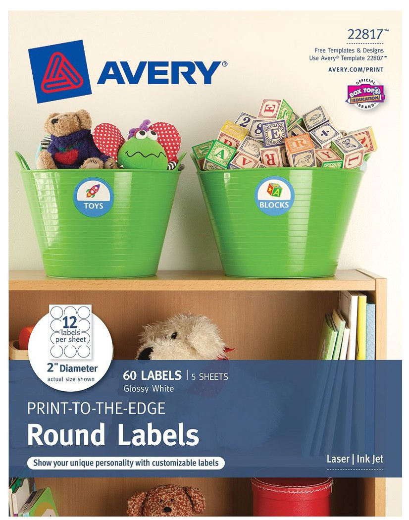 "Avery (R) Print-to-the-Edge Round Labels 22817, Glossy White, 2"" Diameter, Pack of 60 by Avery Products Corporation"