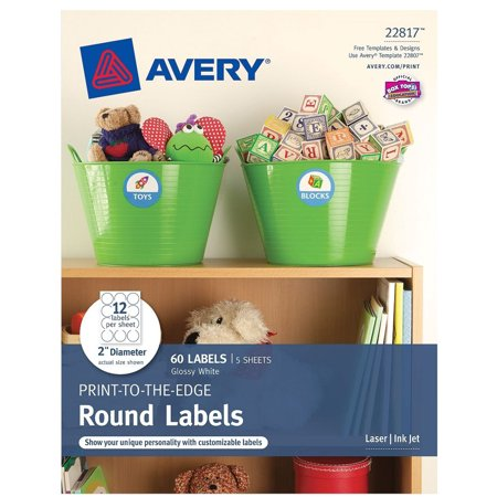 Avery  R  Print To The Edge Round Labels 22817  Glossy White  2   Diameter  Pack Of 60