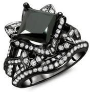 Noori Collection Noori 14k Black Gold 3 ct TDW Certified Black Princess Cut Lotus Flower 2-piece Diamond Ring Set