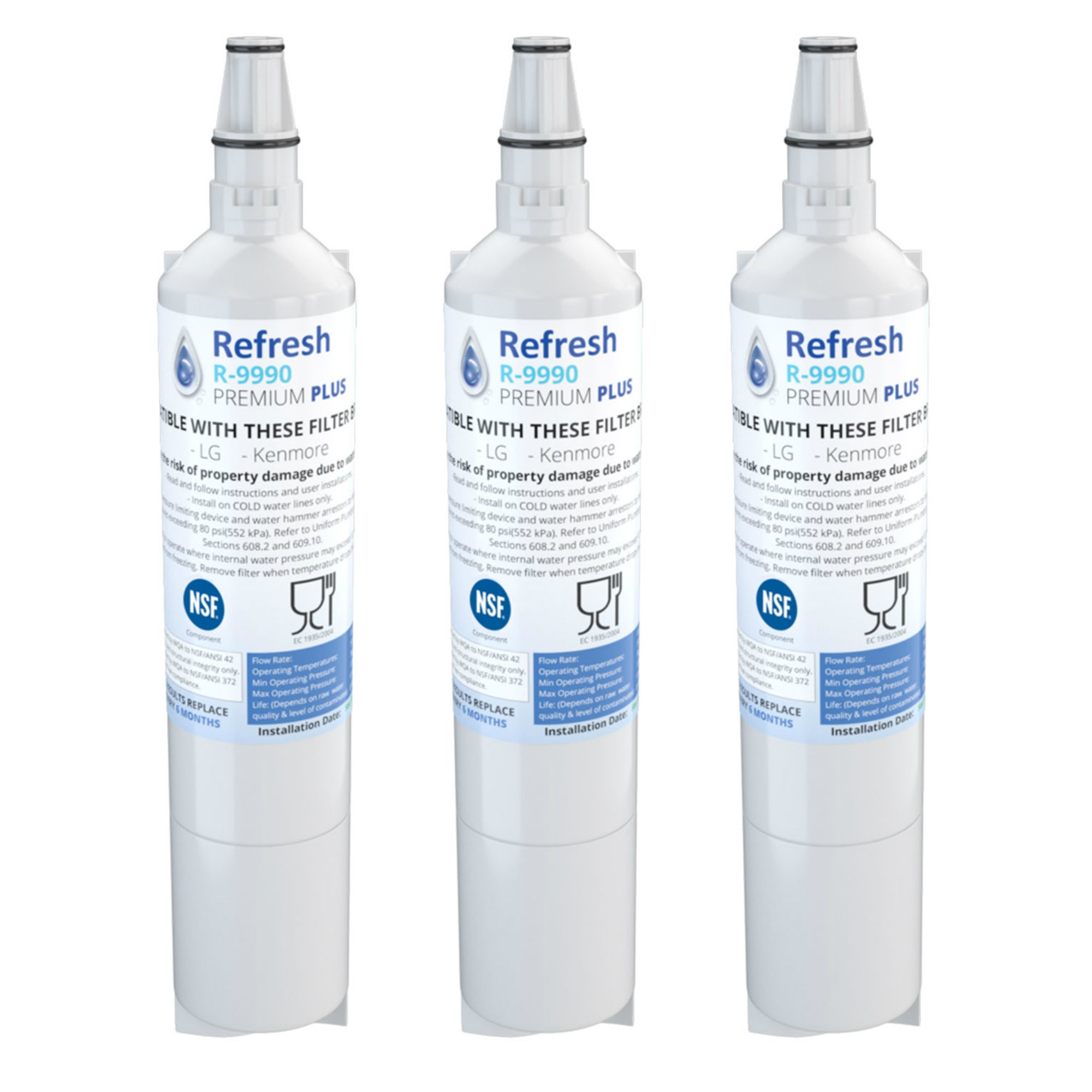Refresh LT600P Replacement for LG LT600P 5231JA2006A 5231JA2006B Refrigerator Water Filter (3 Pack)