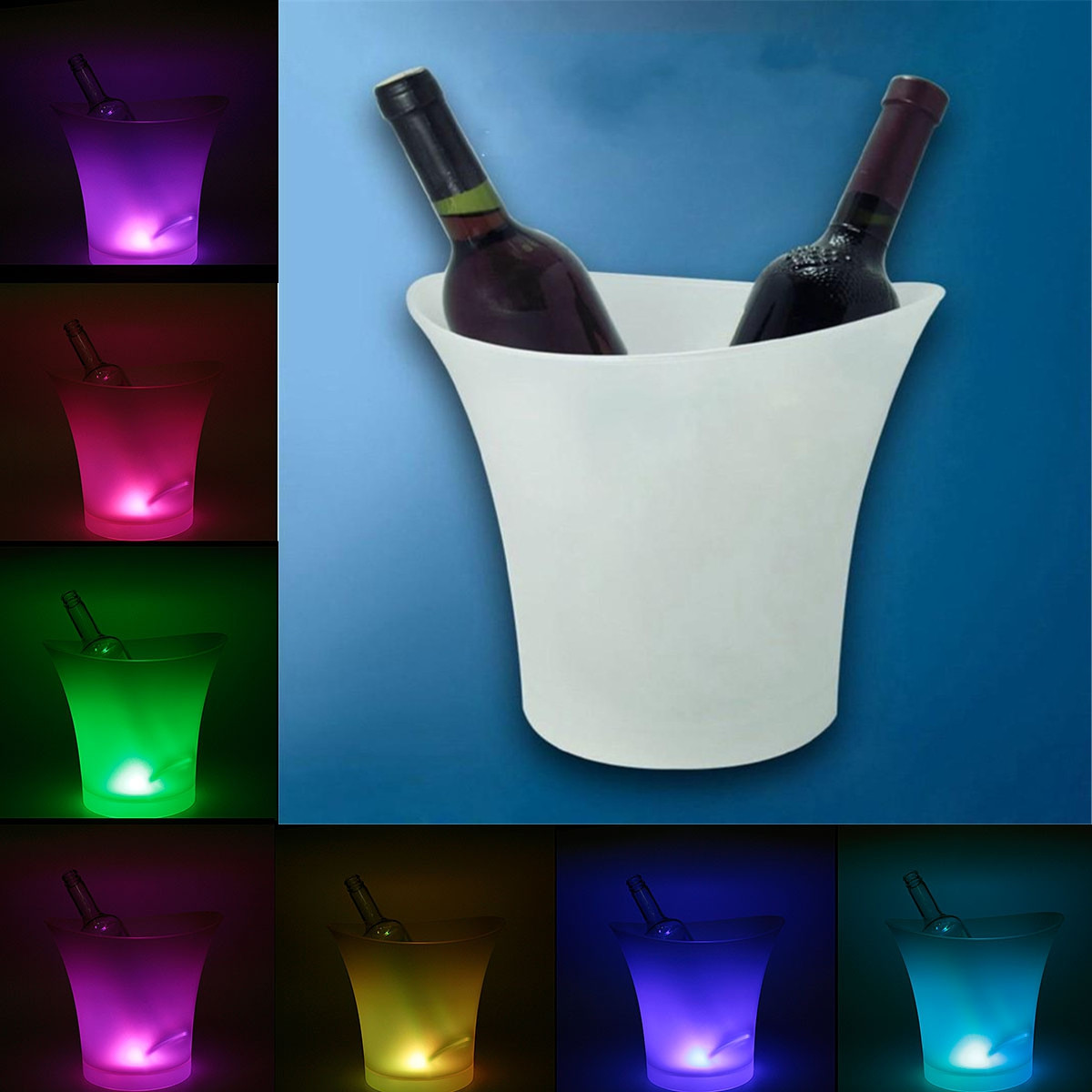5L LED Light Ice Bucket Champagne Wine Drinks party Beer Ice Cooler Bar Party Home Color Changing