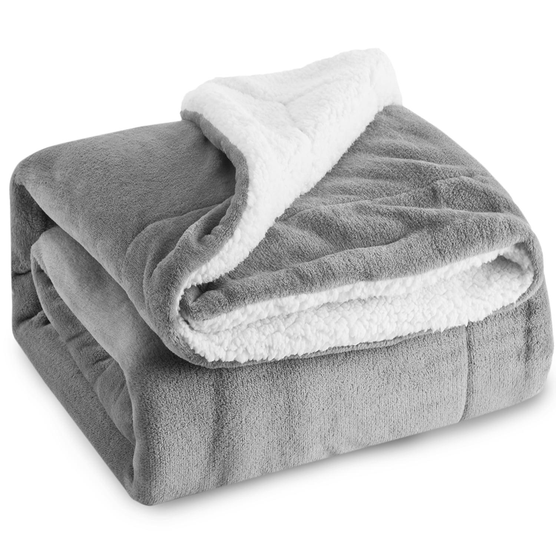 Sherpa Fleece Blanket Twin Size Gray Reversible Plush Throw Blanket Fluffy Soft Bed Blankets By Bedsure Walmart Com Walmart Com